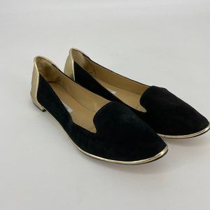 DVF | Size 10M. Black and Gold Suede Flats